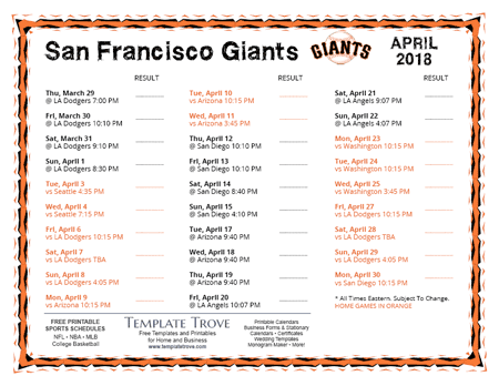2018 Major League Baseball Schedules