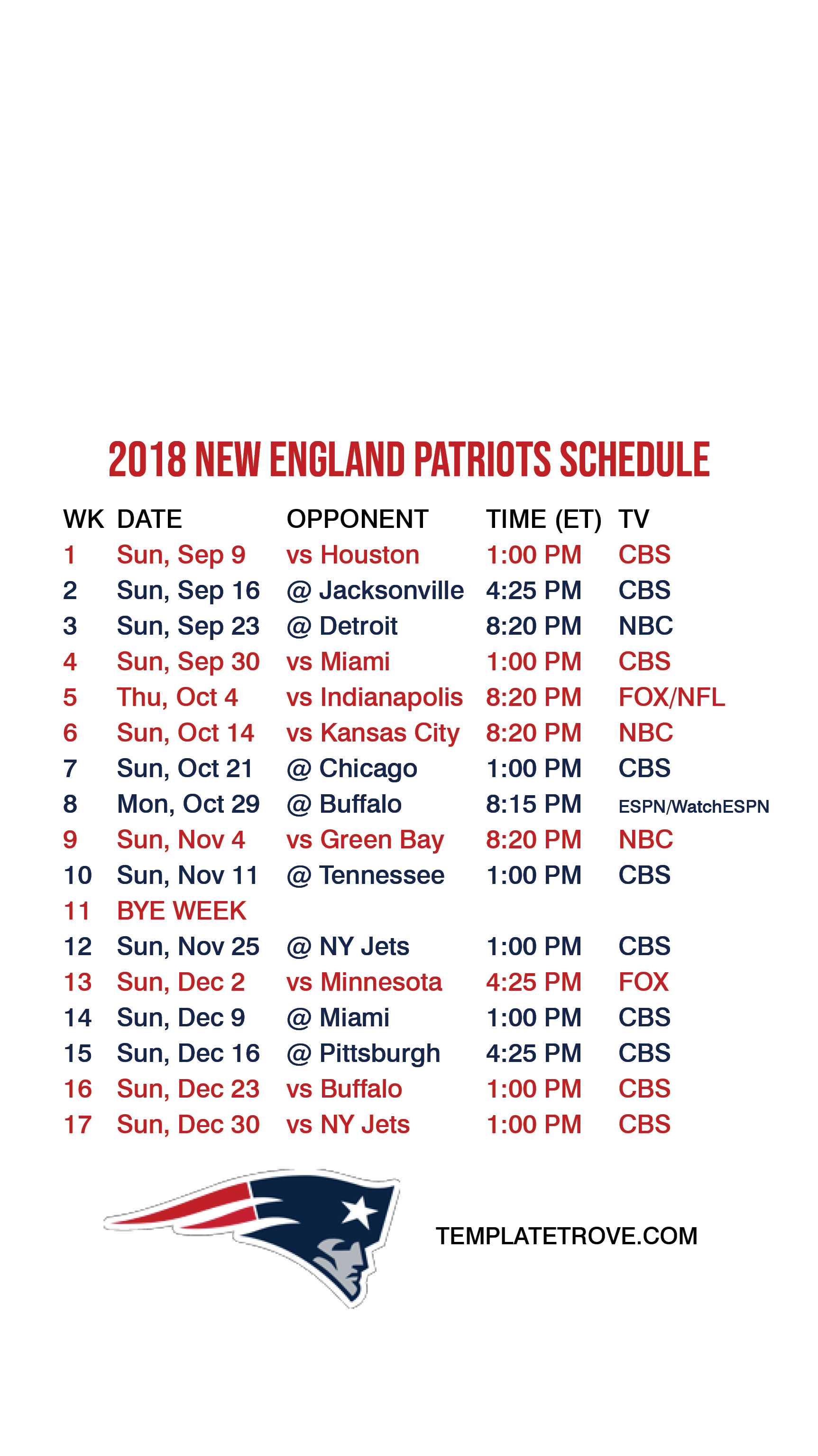 picture regarding New England Patriots Printable Schedule named 2018-2019 Contemporary England Patriots Lock Exhibit Plan for