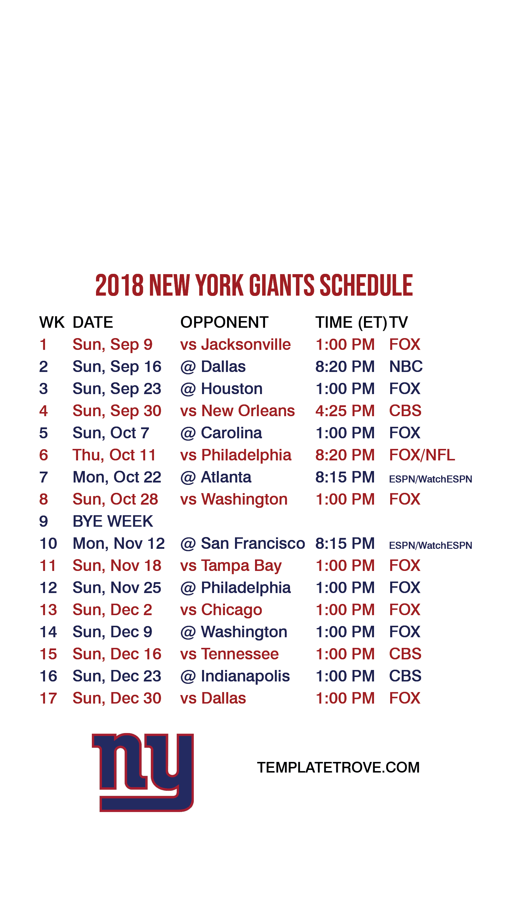This is a picture of Amazing Ny Giants Printable Schedule