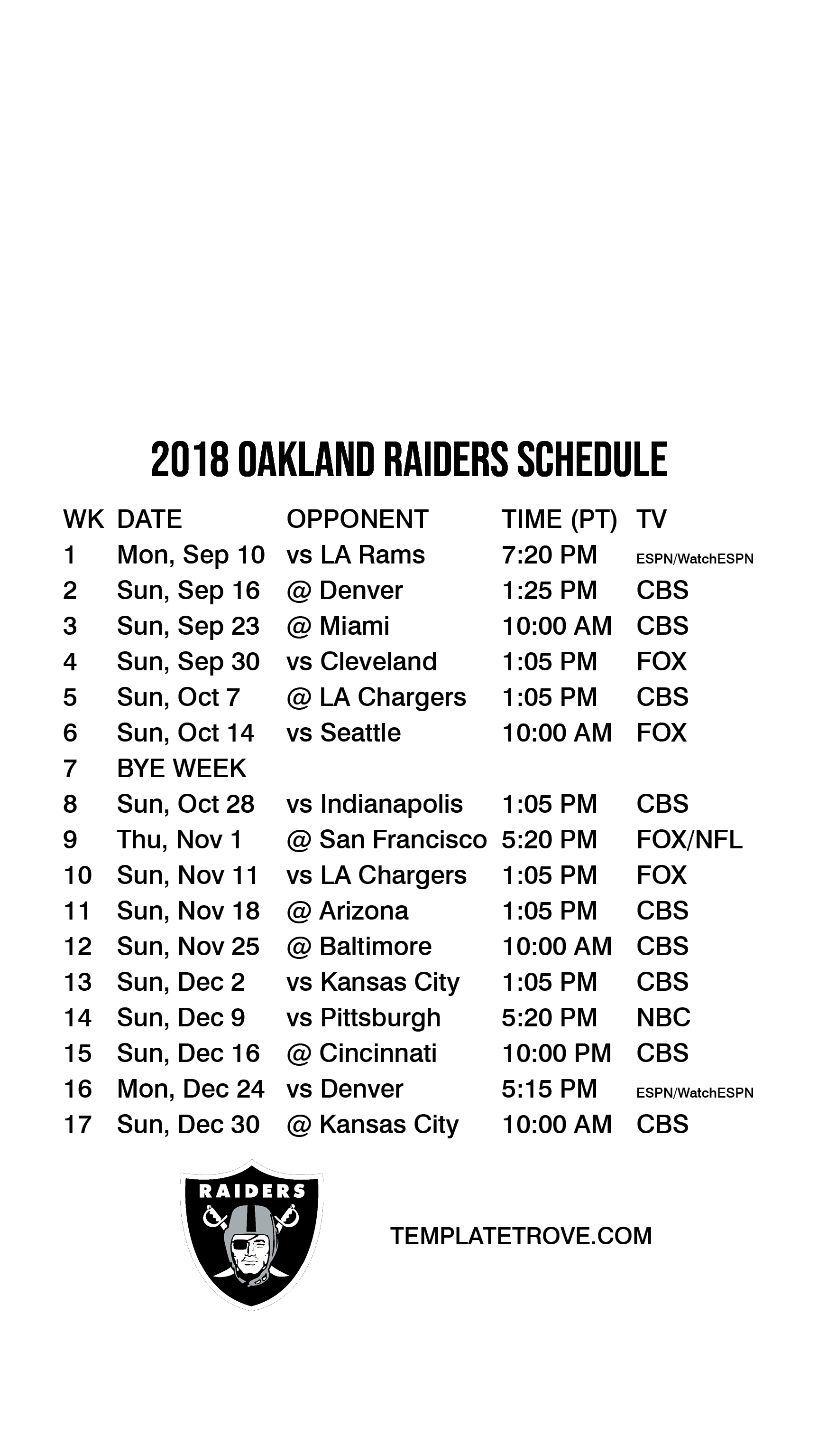 2018-2019 Oakland Raiders Lock Screen Schedule for iPhone ...