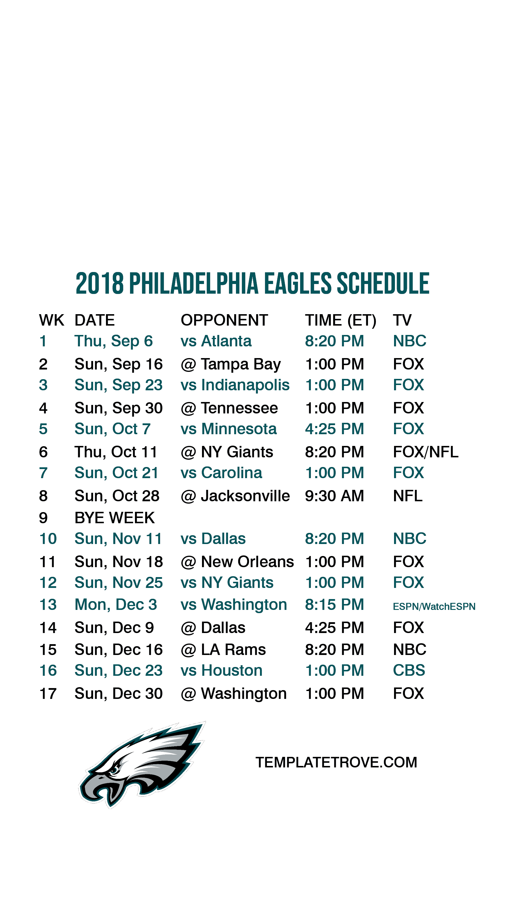 photo about Philadelphia Eagles Printable Schedule identify 2018-2019 Philadelphia Eagles Lock Exhibit Agenda for