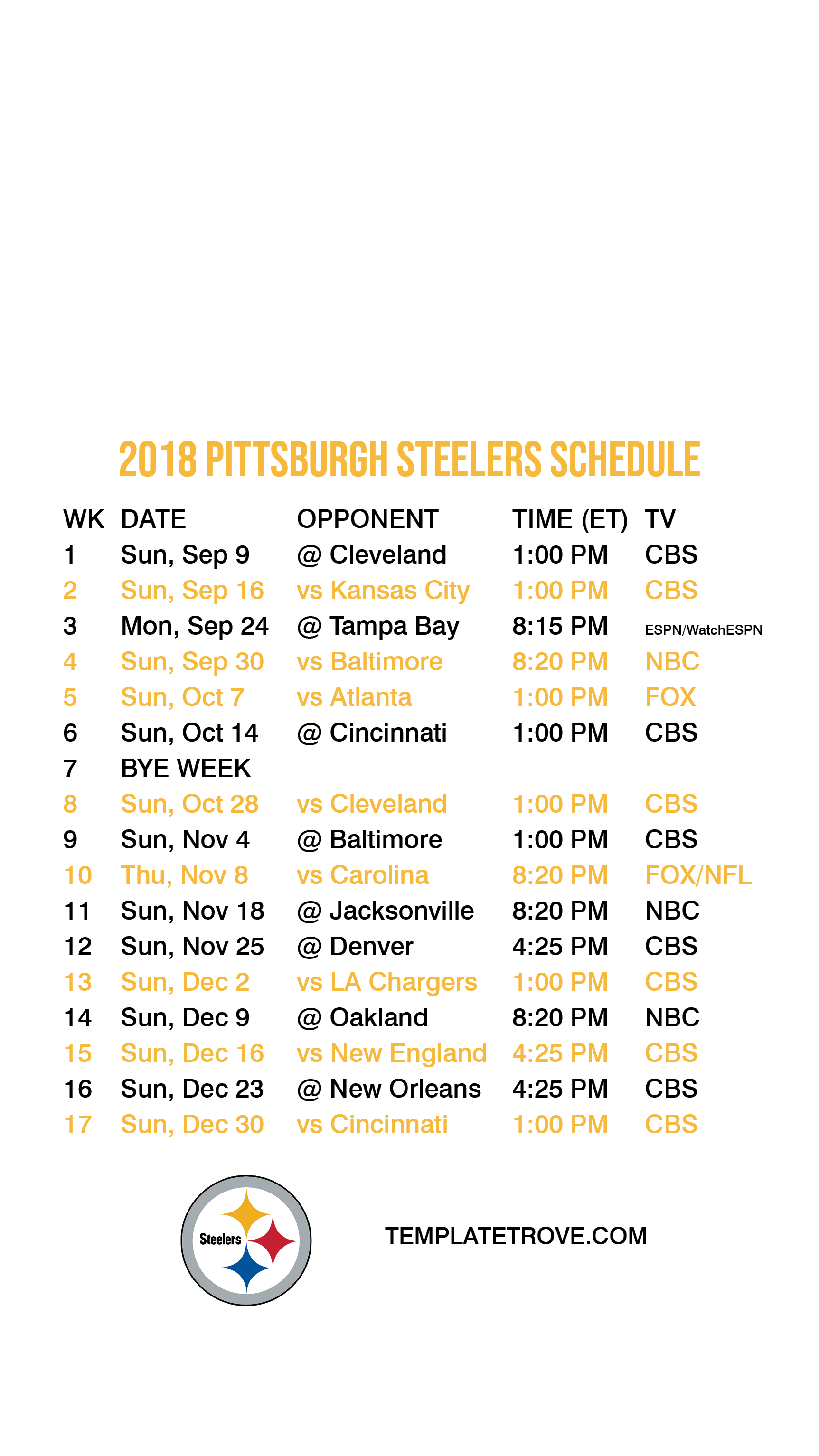 photograph regarding Pittsburgh Steelers Printable Schedule identified as 2018-2019 Pittsburgh Steelers Lock Display Timetable for