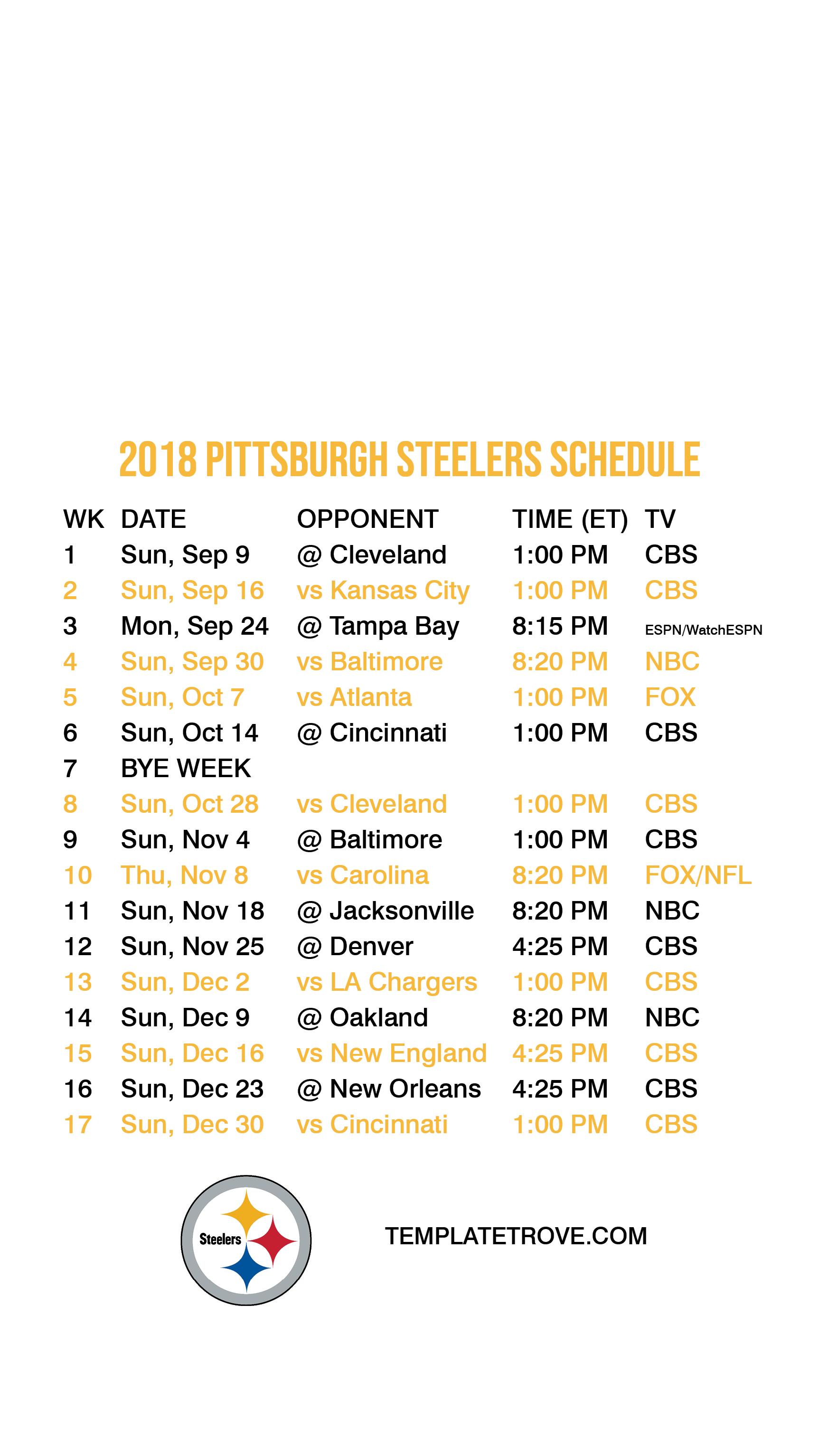 image regarding Pittsburgh Steelers Printable Schedule named 2018-2019 Pittsburgh Steelers Lock Display screen Plan for