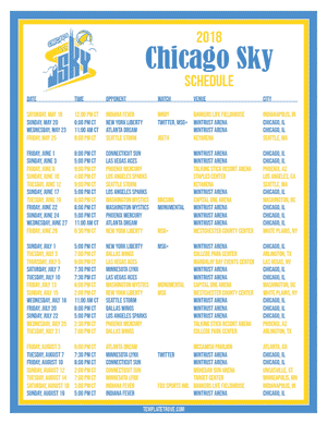 Chicago Sky 2018 Printable Basketball Schedule
