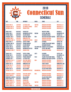 Connecticut Sun 2018 Printable Basketball Schedule