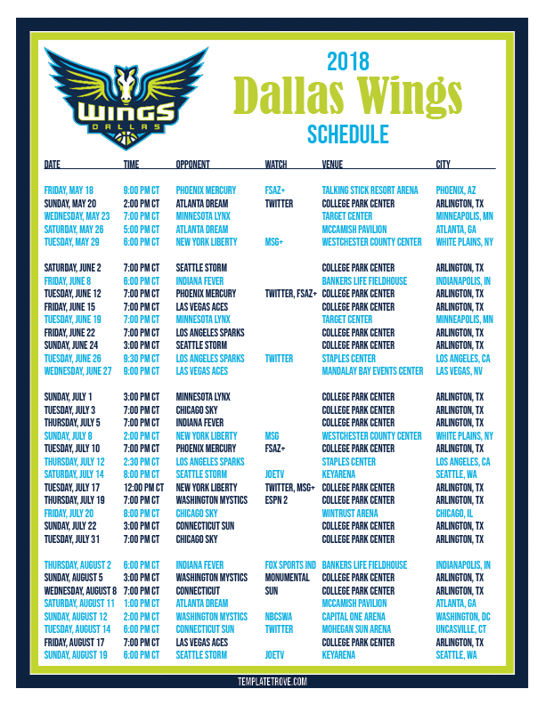 2018-Printable-Dallas-Wings-Basketball-Schedule-PNG Team Newsletter Template Free on schedule template free, contact template free, team logo free, calendar template free, site map template free,