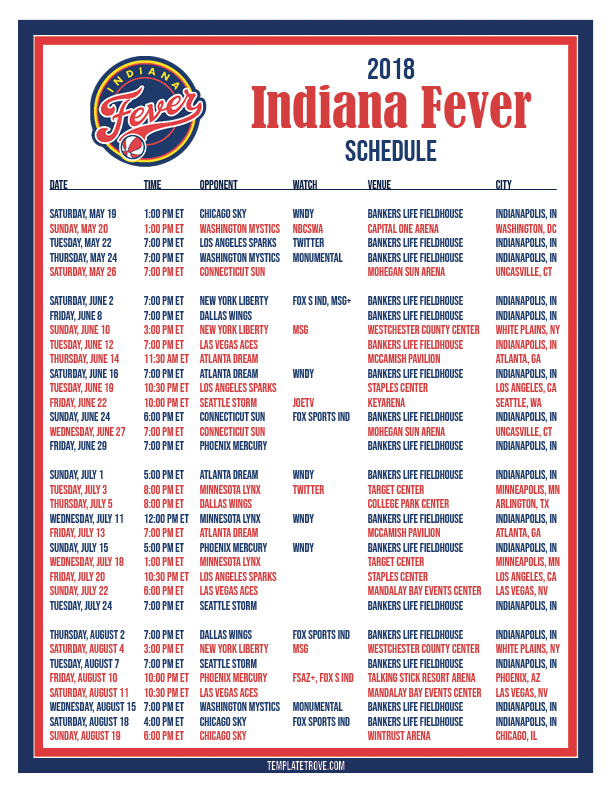 photograph regarding Printable Red Wings Schedule identified as Printable2018 Indiana Fever Basketball Program