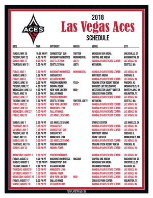 Las Vegas Aces 2018 Printable Basketball Schedule
