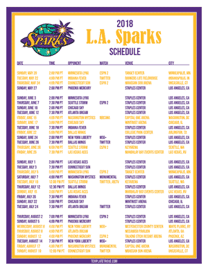 Los Angeles Sparks 2018 Printable Basketball Schedule