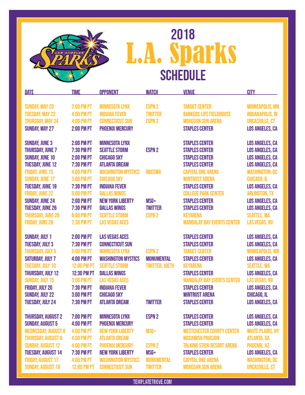 9ae4cdcff9921 Printable2018 Los Angeles Sparks Basketball Schedule