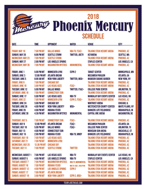 Phoenix Mercury 2018 Printable Basketball Schedule