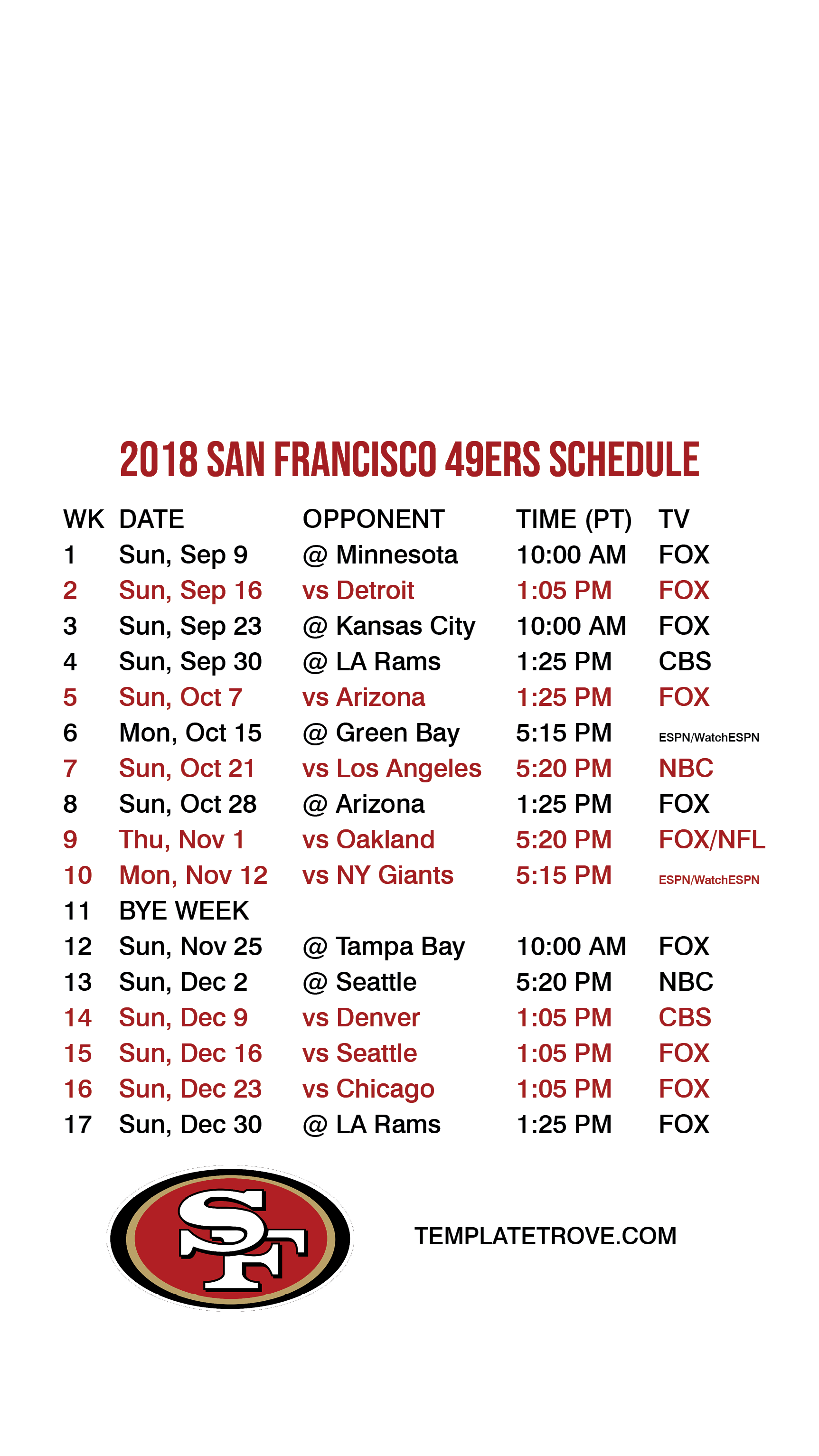 2018 2019 San Francisco 49ers Lock Screen Schedule For