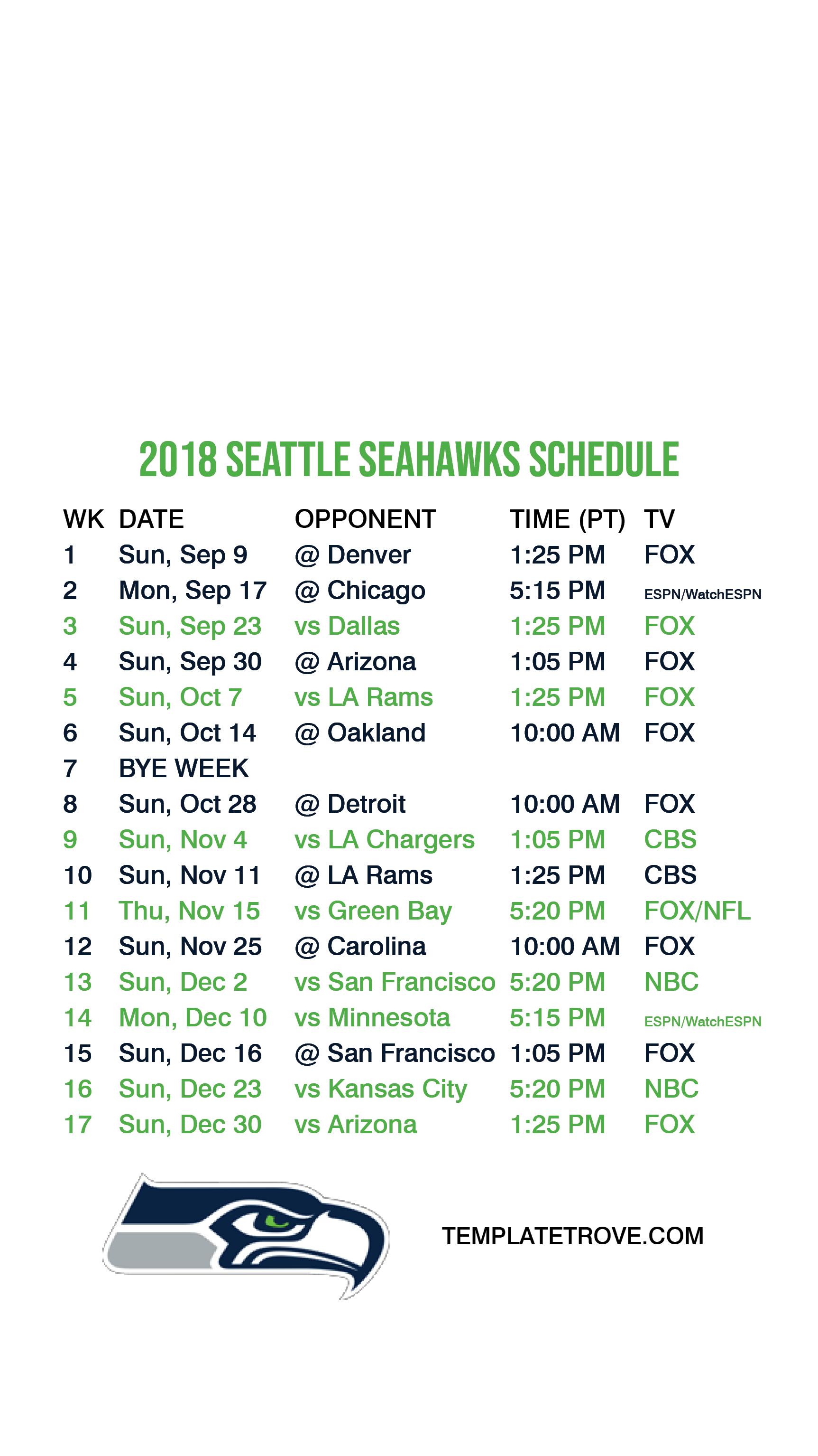 picture regarding Seattle Seahawks Printable Schedule named 2018-2019 Seattle Seahawks Lock Display Program for apple iphone 6