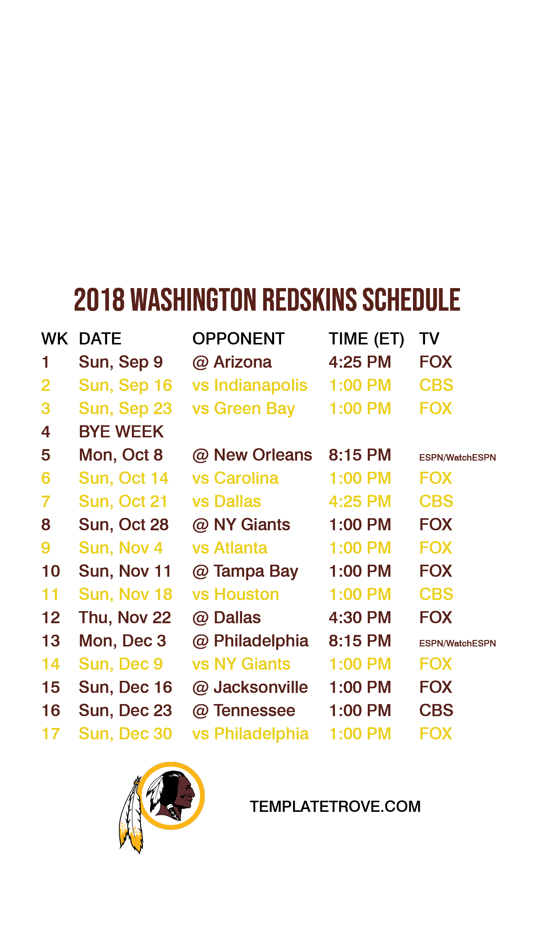 2018-Washington-Redskins-Lock-Screen-Schedule-iPhone-6-7-8-Plus Team Newsletter Template Word on family reunion, free emergency, compatible class, how make, free blank,