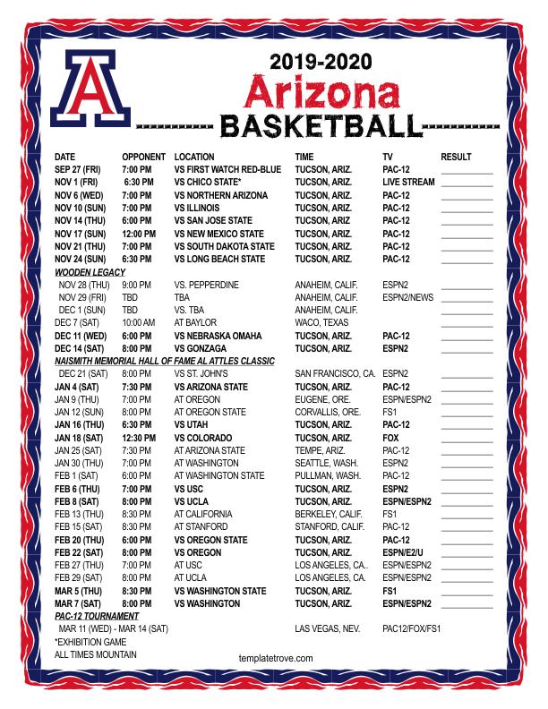 arizona basketball schedule 2020