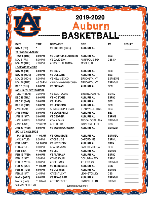 Printable 2019 2020 Auburn Tigers Basketball Schedule