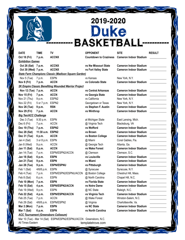 Invaluable image inside duke basketball schedule printable