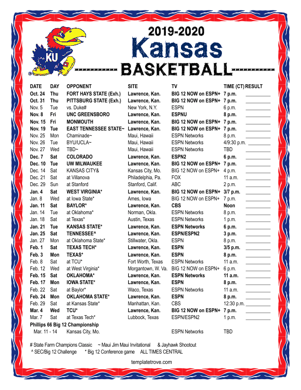 Printable 2019 2020 Kansas Jayhawks Basketball Schedule
