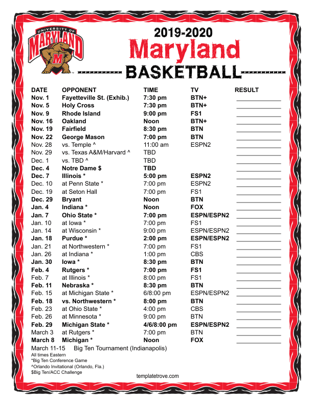 Printable 2019 2020 Maryland Terrapins Basketball Schedule