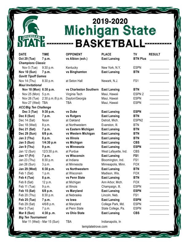 Printable 2019 2020 Michigan State Spartans Basketball Schedule