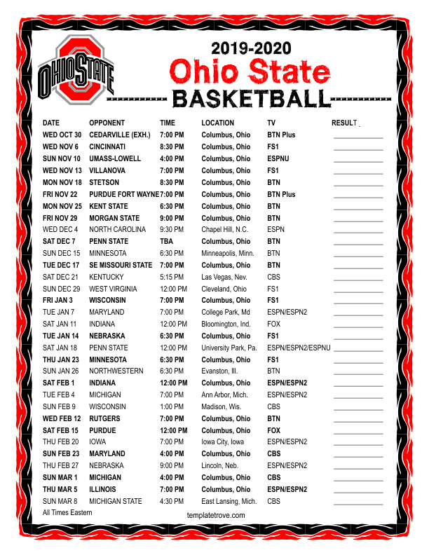 Printable 2019 2020 Ohio State Buckeyes Basketball Schedule