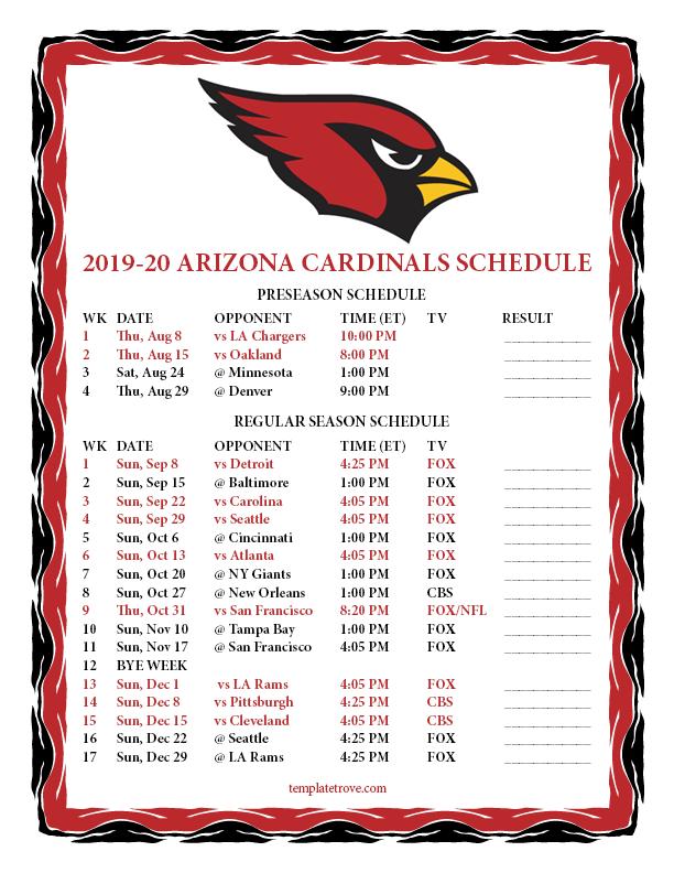 Cardinals Home Opener 2020.Printable 2019 2020 Arizona Cardinals Schedule