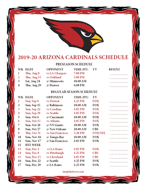 Arizona Cardinals 2019-20 Printable Schedule - Pacific Times