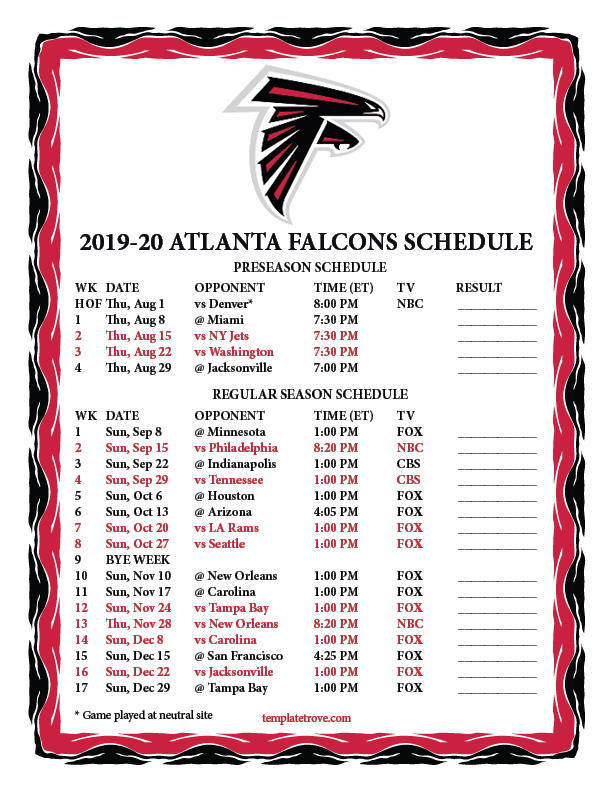 It's just a graphic of Sly Printable Team Schedules Nfl 2020