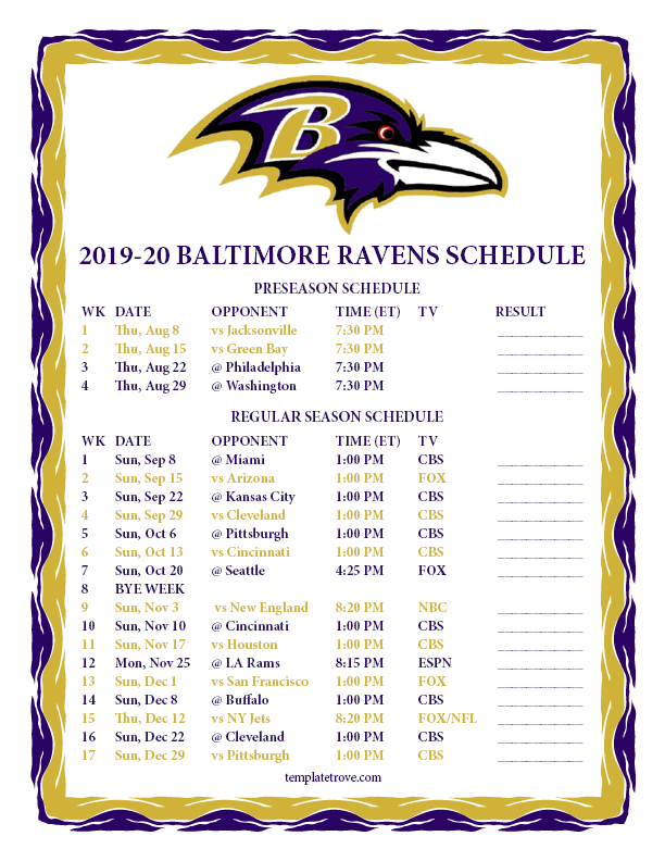 Ravens 2020 Schedule.Printable 2019 2020 Baltimore Ravens Schedule