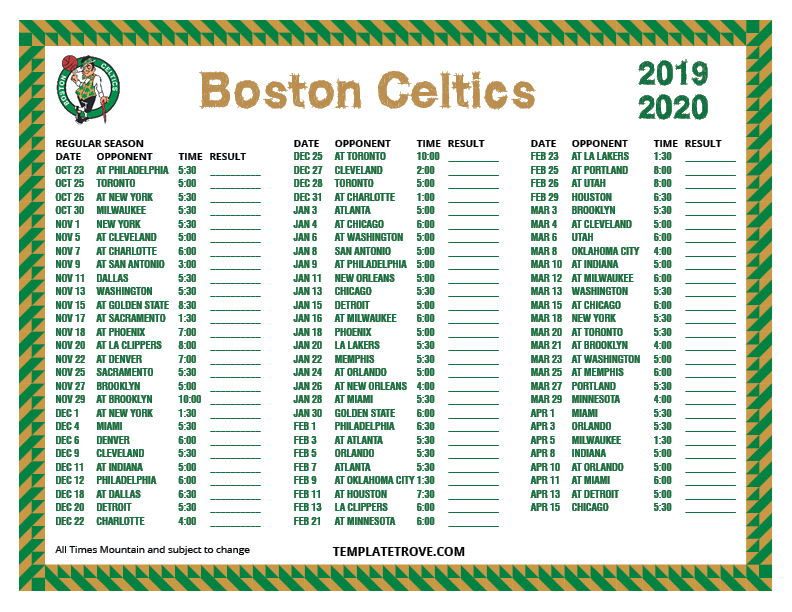 Eloquent image regarding boston celtics printable schedule