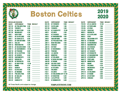 Boston Celtics 2019-20 Printable Schedule - Pacific Times