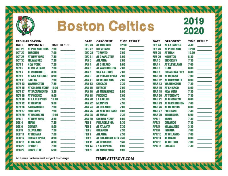 Celtics Schedule 2020.Printable 2019 2020 Boston Celtics Schedule