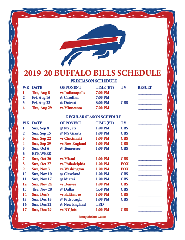 photograph relating to Buffalo Bills Printable Schedule titled Printable 2019-2020 Buffalo Charges Plan