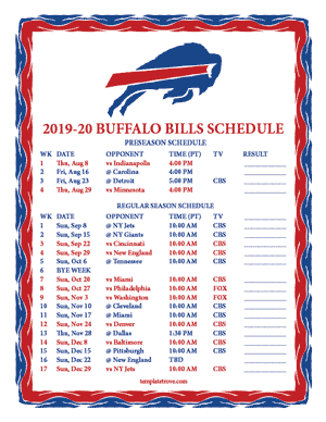 Buffalo Bills 2019-20 Printable Schedule - Pacific Times