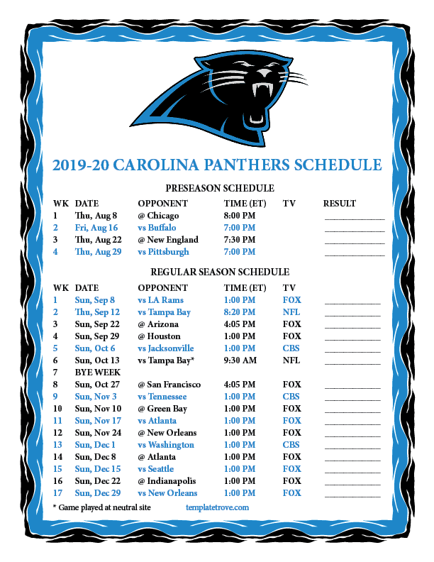 Carolina Panthers Schedule 2020.Printable 2019 2020 Carolina Panthers Schedule