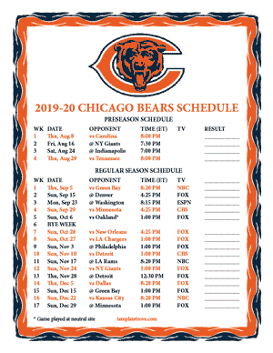 Nifty image in chicago bears printable schedule