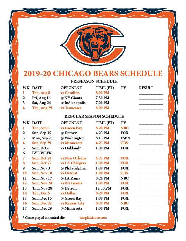photo relating to Printable Bears Schedule called Printable 2019-2020 Chicago Bears Agenda