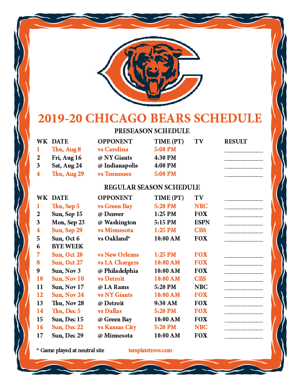 It is a picture of Luscious Green Bay Packers Schedule 2020 Printable