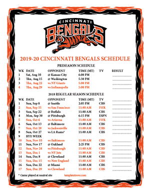 Cincinnati Bengals 2019-20 Printable Schedule - Mountain Times