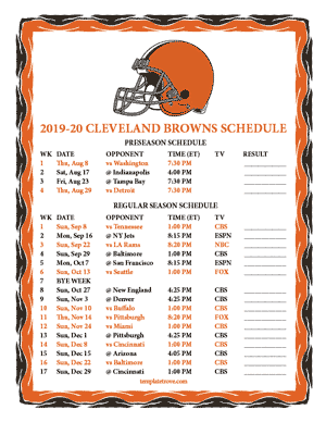 Cleveland Browns 2019-20 Printable Schedule