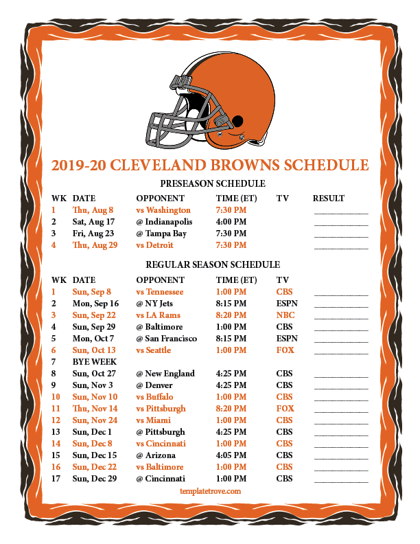 Cleveland Browns 2020 Schedule.Printable 2019 2020 Cleveland Browns Schedule