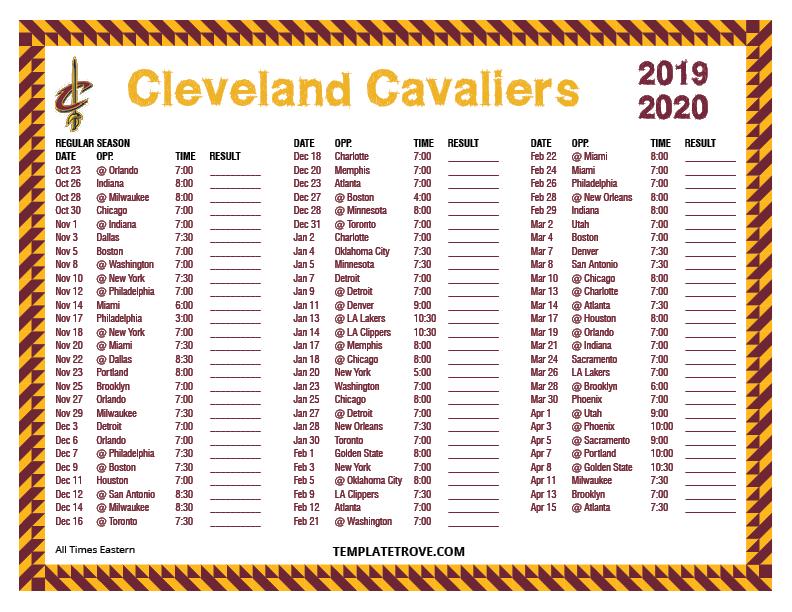 Cavs Schedule 2020.Printable 2019 2020 Cleveland Cavaliers Schedule