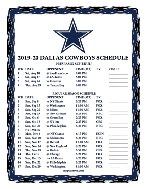 Dynamite image with dallas cowboy schedule printable