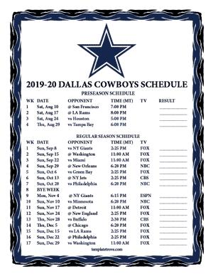 Dashing image pertaining to dallas cowboy schedule printable