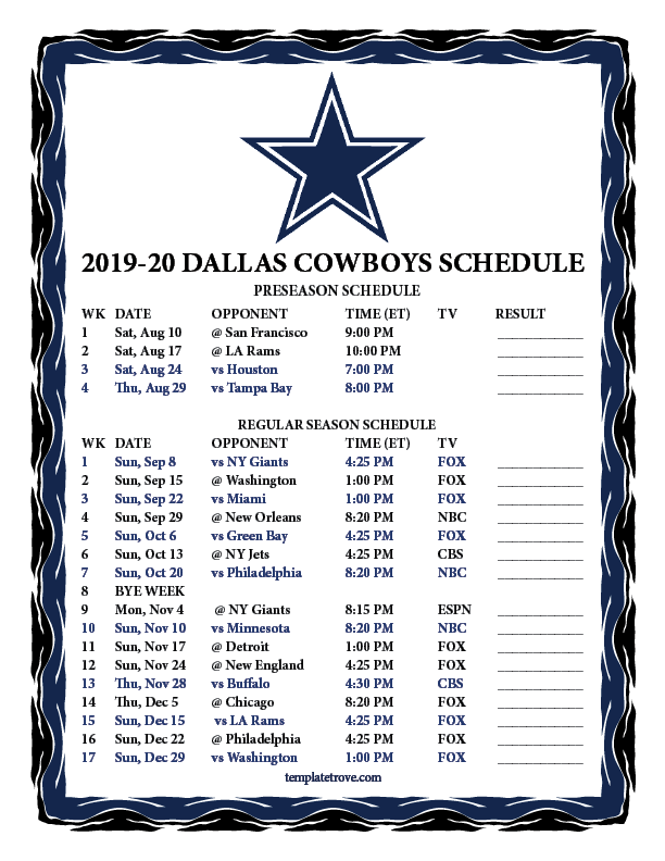 Cowboys Calendar 2020 Printable 2019 2020 Dallas Cowboys Schedule
