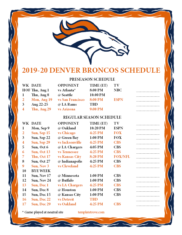photograph regarding Denver Broncos Printable Schedule named Printable 2019-2020 Denver Broncos Agenda