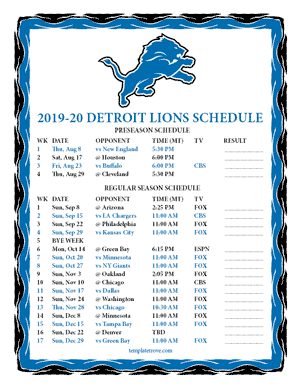 Detroit Lions 2019-20 Printable Schedule - Mountain Times