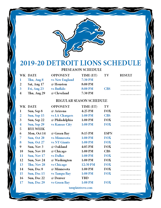 graphic regarding Printable Pictures of Lions known as Printable 2019-2020 Detroit Lions Timetable