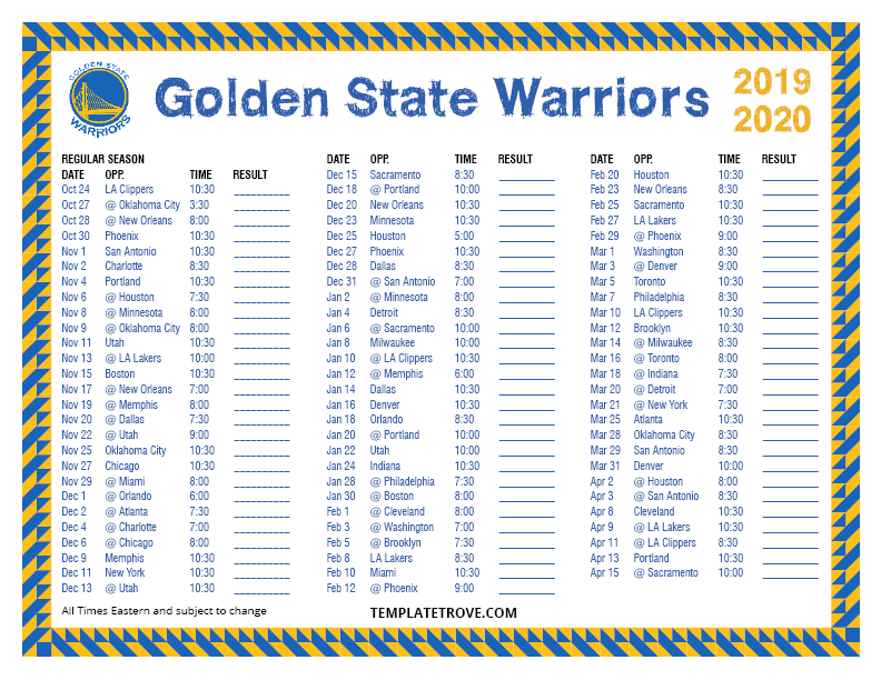 Warriors Schedule 2020.Printable 2019 2020 Golden State Warriors Schedule