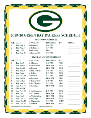 Green Bay Packers 2019-20 Printable Schedule - Mountain Times